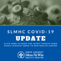 Image stating Update from SLMHC about COVID-19. Directing people to