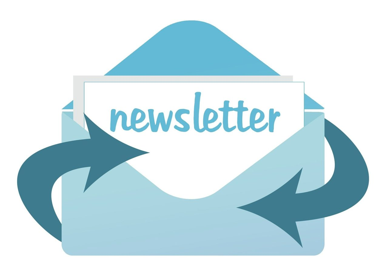 Blue graphic- letter going into envelope with text- Newsletter