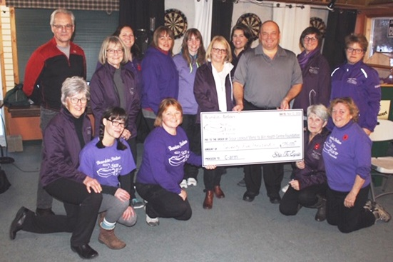 Group accepting a donation cheque.
