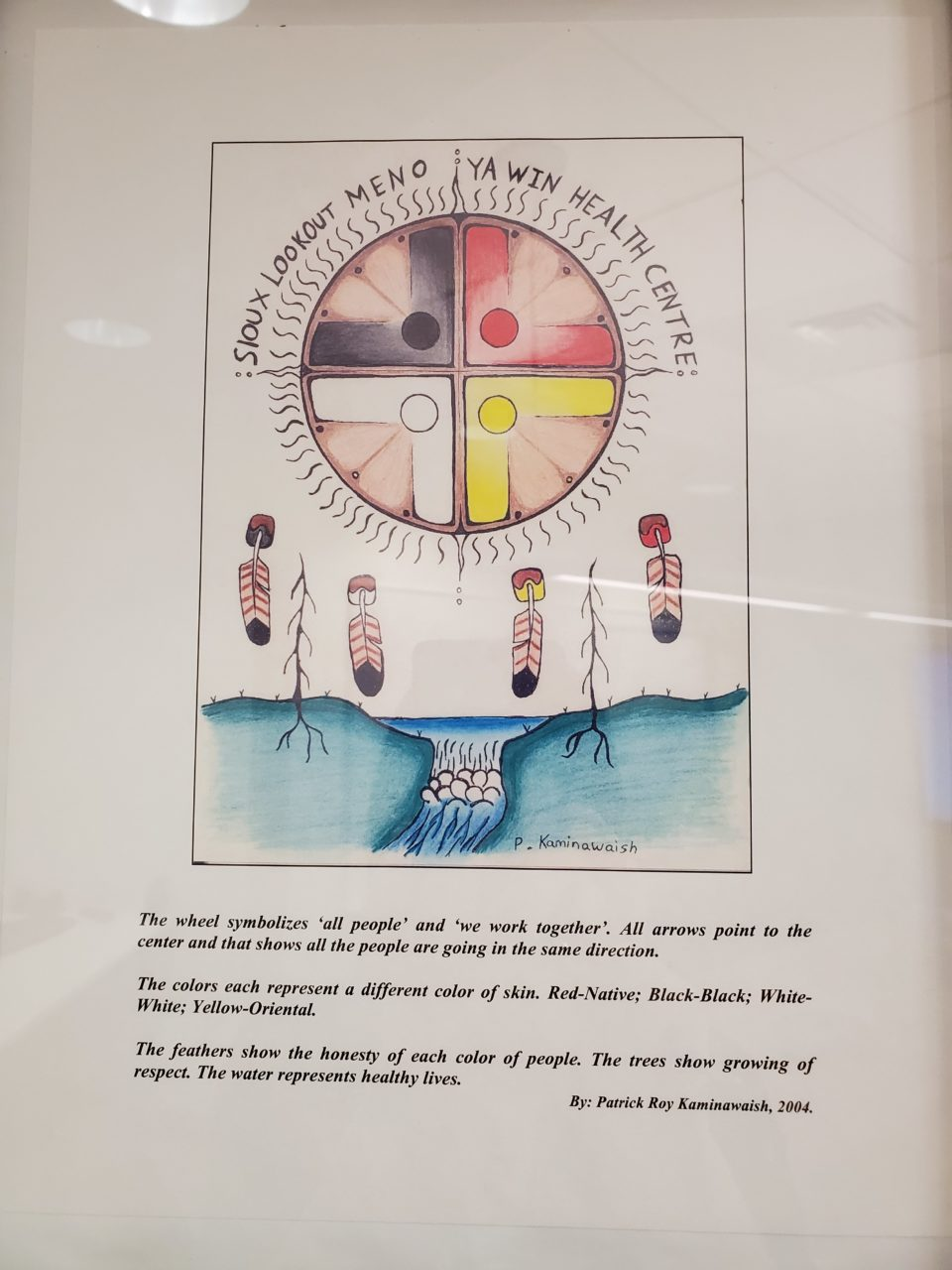 Original drawing and entry of the Sioux Lookout Meno Ya Win Health Centre logo.