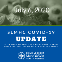 Graphic with text stating SLMHC COVID-19 Update July 6, 2020